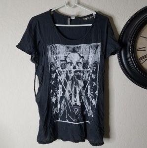 H&M Divided Grey Skull Graphic Tee Unisex Tshirt
